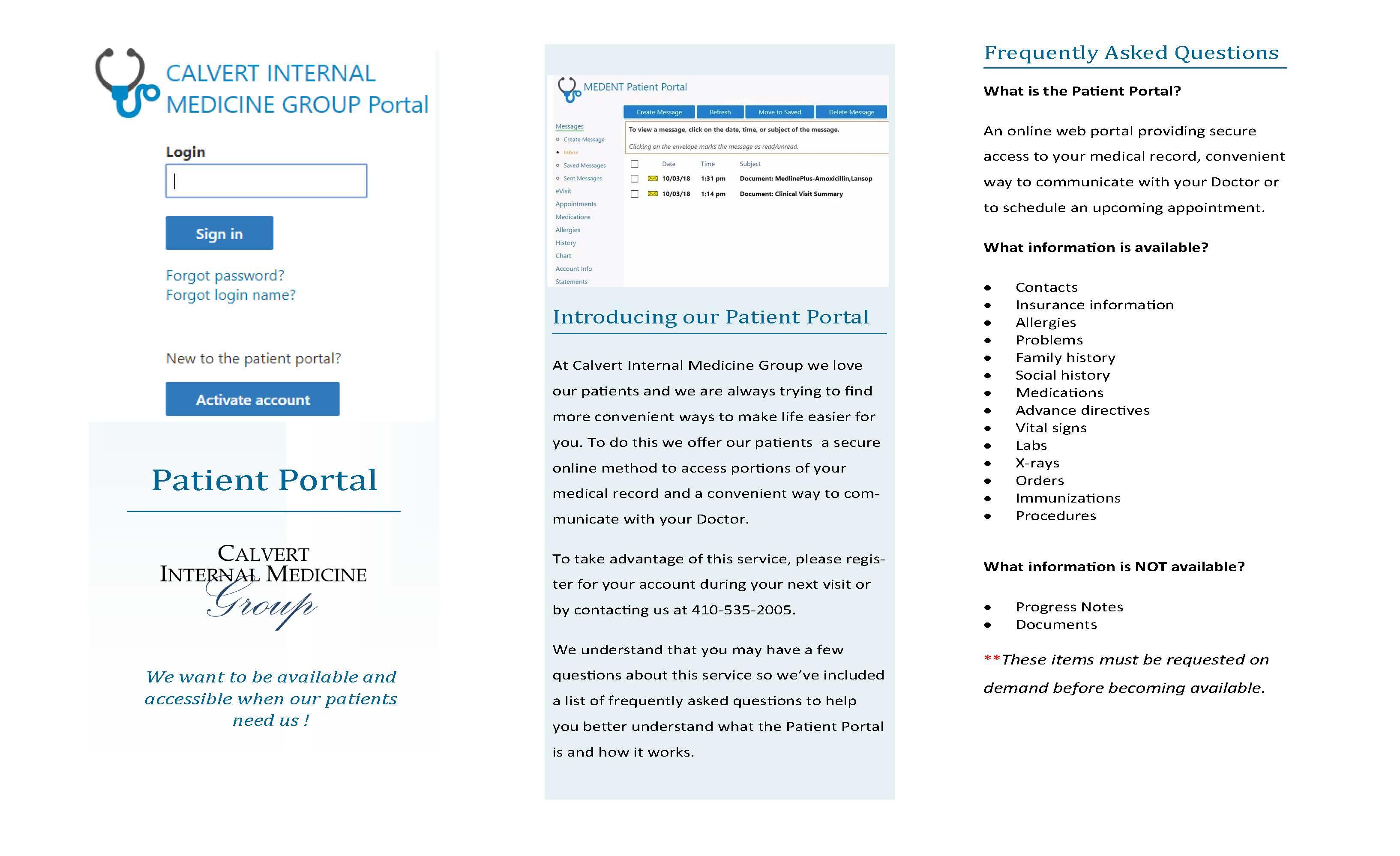 Medent Patient Portal - Calvert Internal Medicine Group